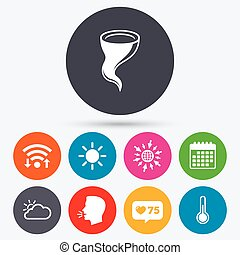 Weather icons Cloud and sun Storm symbol - Wifi, like...