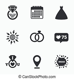 Wedding dress icon Bride and groom rings symbol - Calendar,...