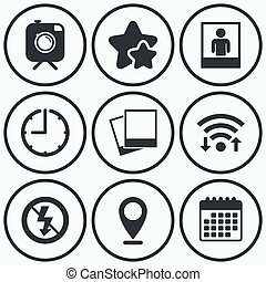 Photo camera icon. No flash light sign. - Clock, wifi and...