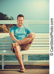 Handsome man tourist on pier Fashion summer - Handsome man...