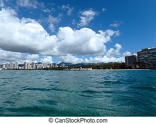 Blue Waters of Waikiki with Beach and Hotels in view