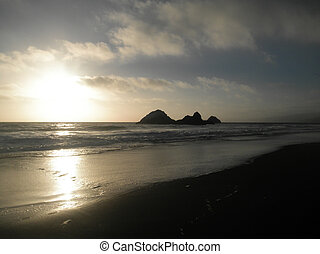 Sunset On Ocean Beach with Seal Rock in the Distance