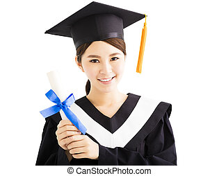 Young smiling asian female graduation with diploma