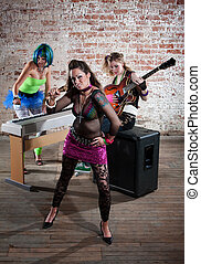 Female punk rock band - Young all girl punk rock band trio