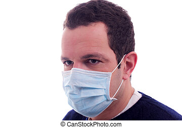 man with a medical mask