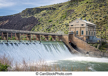 Boise river diversion dam with high spring runoff