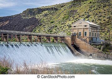 Boise, río, diversión, dique, con, alto,...