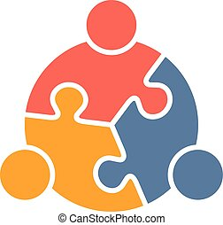 People Family logo - Teamwork People puzzle three pieces....