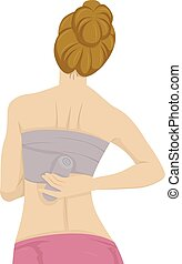 Girl Breast Binding - Back View Illustration of a Girl...