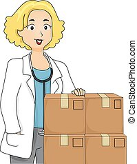 Girl Doctor Boxes Medicine
