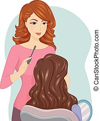 Girl Makeup Artist - Illustration of a Female Make Up Artist...
