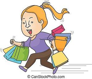 Girl Rush Shopping Sale