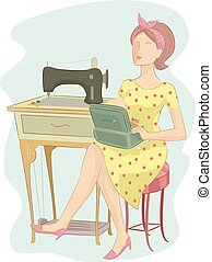 Girl Sewing Retro - Illustration of a Girl in a Retro Outfit...