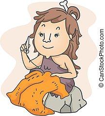 Girl Cave Sewing Bone Skin