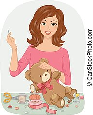 Girl Sew Stuff Toy - Illustration of a Girl Stitching Up a...