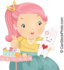 Girl Sewing Stuff Toy - Illustration of a Plump Girl Making...