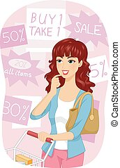 Girl Shop Grocery Sale - Illustration of a Girl Choosing...