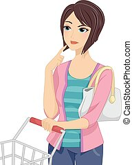 Girl Shopping Cart Thinking - Illustration of a Girl...