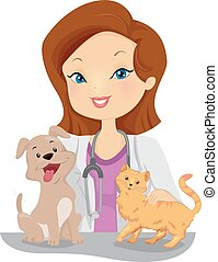 Girl Vet Pets - Illustration of a Female Veterinarian...