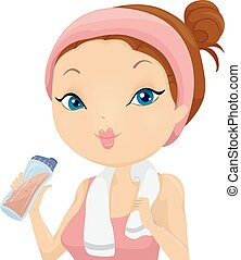 Girl Work Out Protein Shake - Illustration of a Girl...