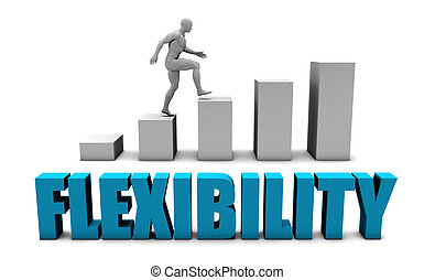 Flexibility 3D Concept in Blue with Bar Chart Graph