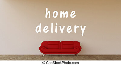 Home Delivery Concept with Home Interior Art