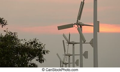 Wind turbine power generator - Beautiful silhouette Wind...