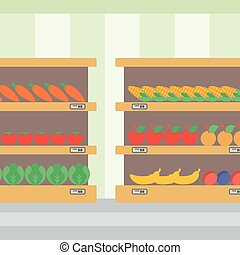 Background of vegetables and fruits on shelves. - Background...