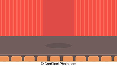 Theater stage with curtains, seats and spotlight - Theater...