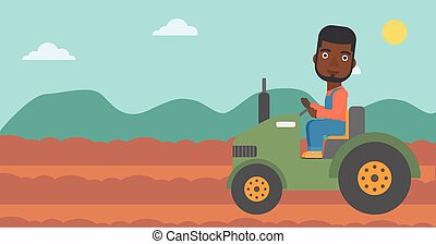 Farmer driving tractor. - An african-american man driving a...