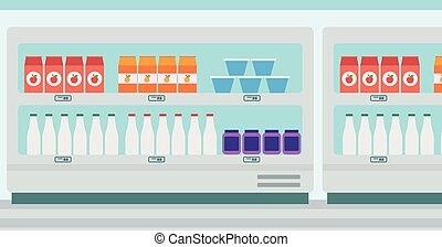 Supermarket shelves with dairy products - Supermarket...