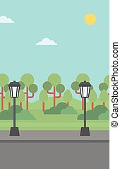 Background of park with streetlight - Background of park...