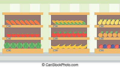 Background of vegetables and fruits on shelves - Background...