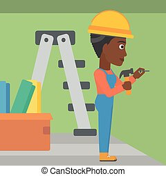 Constructor hammering nail. - An african-american woman...