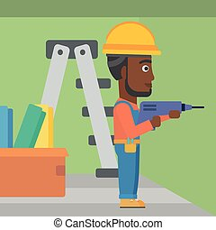 Constructor with perforator - An african-american man...