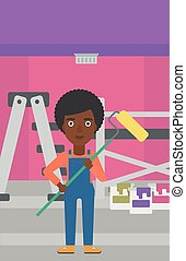 Painter with paint roller. - An african-american woman...