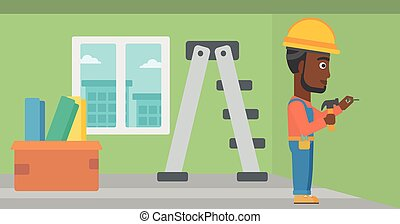 Constructor hammering nail - An african-american man hitting...