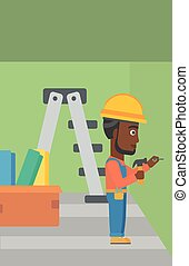 Constructor hammering nail. - An african-american man...