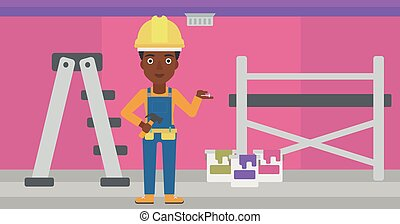 Cheerful repairer engineer. - An african-american woman in...