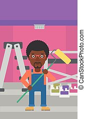 Painter with paint roller. - An african-american man...