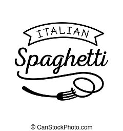 noodle Italian spaghetti logo with fork icon in black color...