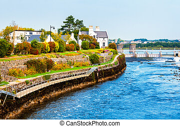 Beautiful landscape of Galway, Ireland River and houses with...