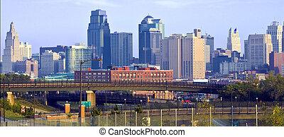 Kansas City Skyline at Dawn - Kansas City skyline at dawn,...
