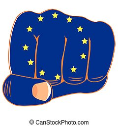 Flag of the europe on fist