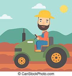 Farmer driving tractor. - A hipster man with the beard...