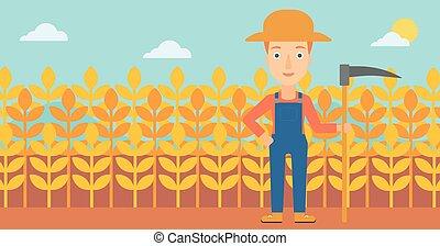 Farmer on the field with scythe - A woman with a scythe on...