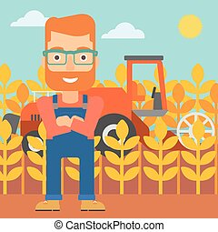 Man standing with combine on background. - A hipster man...
