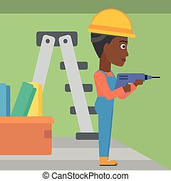 Constructor with perforator - An african-american...