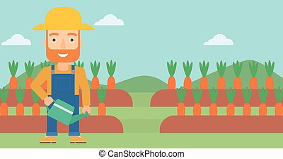 Farmer with watering can - A hipster man with the beard...