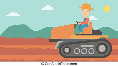 Farmer driving tractor. - A woman driving a tractor on a...